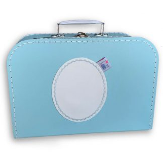 Lichtblauw Koffertje met Naam en Geborduurd Figuurtje