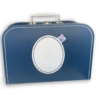 Marine Koffertje met Naam en Geborduurd Figuurtje