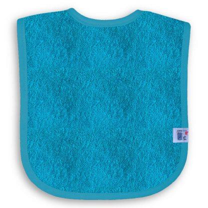 Turquoise Slabbetje met Naam en Geborduurd Figuurtje