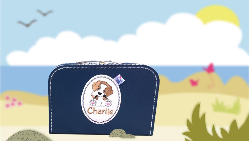 Marine Koffertje met Naam en Geborduurde Beagle